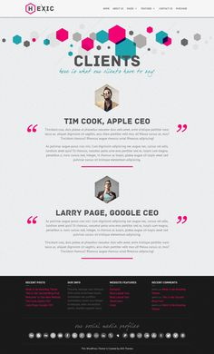 Hexic - Multipurpose One Page Responsive WP Theme by AVAThemes , via Behance