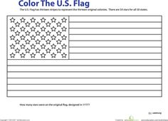 Worksheets: Color the American Flag