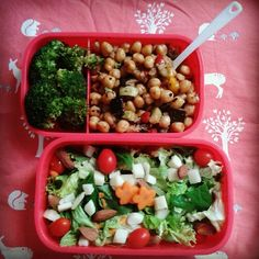 [ Vegan Lunch ]   - Salad (lettuce, spinach, grape tomatos, carrots, raw almonds and hearts of palm) - Roasted chickpea with vegetables - Steamed broccoli