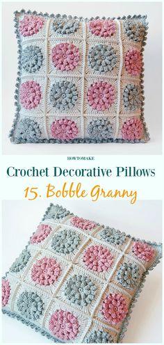 Bobble Granny Pillow Crochet Free Pattern - #Crochet; Decorative #Pillow; Free Patterns