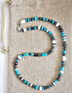 Turquoise necklace for men has excellent beading and is designed with gemstone…