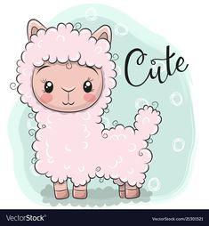 Cute Lama on a blue background. Cute Cartoon Pink Lama on a blue background vector illustration Kids Cartoon Characters, Cartoon Art, Cute Cartoon, Cute Sheep, Baby Sheep, Cute Dragons, 242, Cute Clipart, Kawaii Art