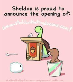 Seldom is proud to announce the opening of www.sheldonthetinydinosaur.com!, text, William; Sheldon the Tiny Dinosaur