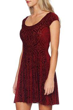 Burned Velvet Wine Evil Cheerleader Dress - LIMITED (AU $120AUD) by BlackMilk Clothing