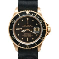 1STDIBS.COM Jewelry & Watches - Rolex - ROLEX Gold Submariner Ref.16808 c1985 - Wanna Buy A Watch? found on Polyvore