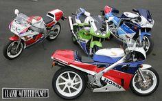 Rare classic super bikes. 1990 Honda VFR 750R (RC30), 1989 Yamaha FZR 750R (OW-01), 1989 Suzuki GSX-R 750RR, 1991 Kawasaki ZX-7R
