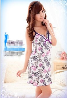 Flower Embellished V-neck Gallus Sleepwear Black(Include Briefs) $7.03