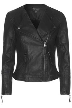 Photo 1 of Faux Leather Quilted Detail Biker Jacket