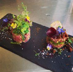 tuna tartare - tuna , bread , beetroot textures , seaweed , coriander and blossom - The ChefsTalk Project