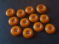 Lot/Set 12 Vintage Honey Butterscotch Golden Amber-Color Plastic Buttons ~ deco