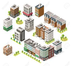 Illustration of Set of the isometric city buildings, shops and other elements vector art, clipart and stock vectors. Villa Minecraft, Minecraft Mods, Minecraft Modern City, Minecraft Houses, Minecraft City Buildings, Minecraft Architecture, Isometric Drawing, Isometric Design, Urban Ideas