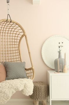 LOVE these colors with my pink walls, but not a huge fan of fur or yarn. The arrangement is nice but that table is dreadful Dream Rooms, Dream Bedroom, Girls Bedroom, Bedroom Wall, My New Room, My Room, Hanging Chair, Home And Living, Decoration