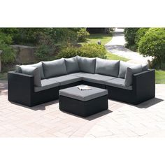 This modern designed sectional sofa is perfect for outdoor or patio. Each piece features an aluminum frame with resin wicker texture. The sectional has light gray seat and plush back cushion.