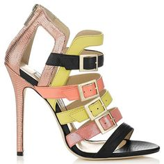 Jimmy Choo Booster Strappy Stiletto Sandals Heels Metallic Yellow Rose Gold #JimmyChoo #Shoes