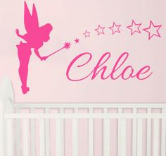 Free Shipping Customized made  name  tinkerbell  stars Kids removable Wall Sticker Vinyl Mural Decals for Girls Kids Room KW-142