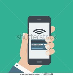 mobile credit card payment hand holding phone flat design