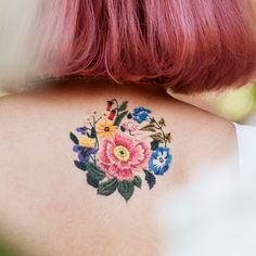 Stitched Bouquet by Tessa Perlow from Tattly Temporary Tattoos. Quality, non-toxic and made in the USA. Fake tattoos by real artists! Body Art Tattoos, Tatoos, Fake Tattoos, Rib Tattoos, Tattoo Ink, Tessa Perlow, Embroidery Tattoo, Brazilian Hair Bundles, First Tattoo