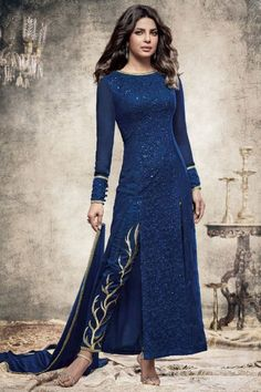 Beautiful Blue Georgette Fabric Embroidered Indian Designer Priyanka Party Wear Suit