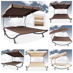 Double Sun Bed Lounger w/Canopy King Size Hammock Outdoor Patio Furniture | eBay