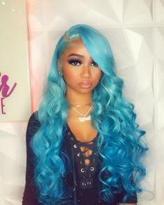 Baddie Hairstyles, Party Hairstyles, Cool Hairstyles, Hairstyles Videos, Natural Hair Styles, Short Hair Styles, Blue Wig, Human Wigs, Hair Laid