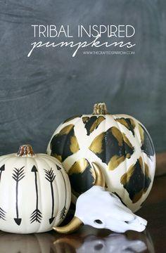 Tribal Inspired Pumpkins - thecraftedsparrow.com