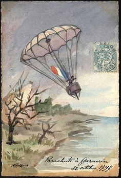 October 22, 1797  André-Jacques Garnerin invented the frameless parachute and in 1797 he carried out the first jump from a hot air balloon. Garnerin's silk parachute included a pole running down the center and a rope running through a tube in the pole, which connected it to the balloon.     *Garnerin's wife, Jeanne-Genevieve Garnerin, was also a parachutist and  the first woman to make a jump from a hot air balloon    #ballooning, #postcards, #parachutes, #France