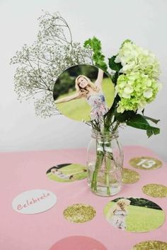 Glam Graduation Party Ideas - centerpiece ideas using #PearTreeGreetings graduation party decorations by malinda