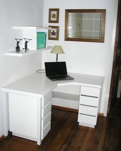 DIY Computer Desk Ideas To Suit Your Style, Awesome and Beatiful Bureau Design, Design Desk, Home Office Design, Home Office Decor, Home Decor, Small Corner Desk, Corner Office Desk, Corner Workstation, Diy Computer Desk