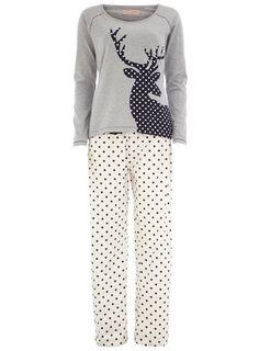 Cream spot stag pyjama set