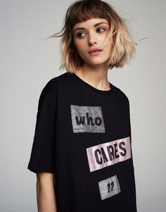 Pull&Bear - woman - clothing - t-shirts - shiny message t-shirt - black - 05237380-V2017