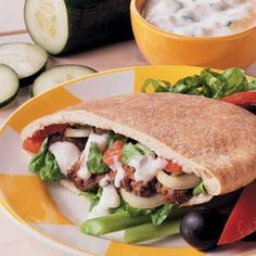 Ground Beef Gyros - My kiddos LOVED this. Mason ate two! I used Greek yogurt. I also didn't shape the meat into patties, and I used whole wheat sandwich pockets. Greek Recipes, Meat Recipes, Cooking Recipes, Healthy Recipes, Sandwich Recipes, Delicious Recipes, Ground Beef Gyros Recipe, Ground Beef Recipes, Gastronomia