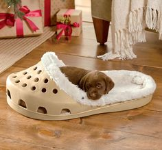 They tear, shred, eat, and shit in your shoes enough that you might as well just let them sleep in them. Well now they can with the giant shoe shaped dog bed. Shaped like a giant croc, or a slipper, t...