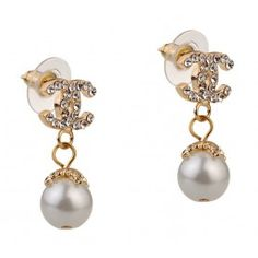 Chanel Replica Diamond Studded Gold CC Logo Pearl Drop Hanging Earrings
