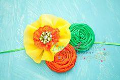yellow, orange, green, summer flowers newborn, baby, infant, toddler, girls headband, hairbow photo props. $16.00, via Etsy.