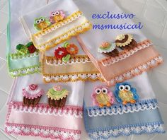 Super Ideas For Crochet Edging Clothes Dish Towels Crochet Lace Edging, Crochet Motifs, Crochet Borders, Crochet Flowers, Crochet Patterns, Crochet Kitchen, Crochet Home, Crochet Baby, Knit Crochet