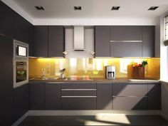 Browse images of minimalistic Kitchen designs by Polovets & Tymoshenko design studio. Find the best photos for ideas & inspiration to create your perfect home. Modern Kitchen Cabinets, Modern Kitchen Design, Kitchen Countertops, Kitchen Furniture, New Kitchen, Kitchen Interior, Kitchen Dining, Kitchen Decor, Studio Kitchen