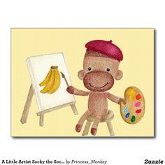A Little Artist Socky the Sock Monkey Postcard