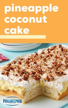 Pineapple Coconut Cake – Wondering what dessert to make for your next celebration? This tropical-flavored recipe is frosted with an amazing mix of vanilla pudding, pineapple, and coconut—making it the perfect treat! Desserts To Make, Köstliche Desserts, Dessert Recipes, Dessert Simple, Pineapple Recipes, Pineapple Coconut, Pineapple Desserts, Poke Cakes, Cupcake Cakes