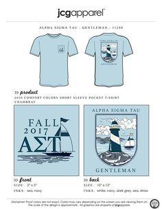 JCG Apparel : Custom Printed Apparel : Alpha Sigma Tau Gentleman T-Shirt #alphasigmatau #ast #gentleman #gentlemen #nautical #lighthouse #boat #sailboat #bidday #recruitment