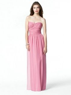 Sleeveless A-line Sweetheart Ruffles Floor-length Chiffon Bridesmaid Dress