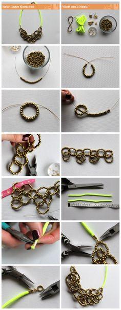 How to make a neon rope necklace via craft.tutsplus.com. #FreeTutorial #Neon #Necklace #DIY