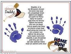 DADDY Teach Me Poem~BASEBALL Handprints Fathers Day