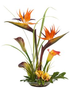 """{$tab:description} INFUSE A TOUCH OF THE EXOTIC An intricate design of birds of paradise and calla lilies interwoven into the fingers of a large philodendron leaf. A centerpiece with amazing realism in color and texture. Tall grass and cymbidium orchid blooms add the finishing touches. It's designed in a shallow 9"""" diameter glass bowl with our clear acrylic water and natural pebbles. It's a wonderful permanent floral design for your home andoffice. {$tab:detai..."""