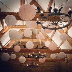 Pretty in pink! Caswell House Wedding, Ceiling Decor, Ceiling Lights, Pink Themes, Paper Lanterns, Lampshades, Fairy Lights, Pretty In Pink, Blush Pink