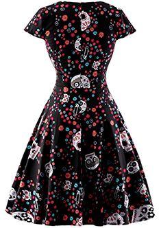Da Donna Halloween Teschio di stampa a mano a maniche lunghe Vestito aderente TOP