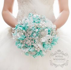 Jeweled Mint Brooch Bridal Bouquet Mint от RoyalWeddingDecore