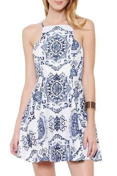 Lennox Paisley Print Dress - White + Blue