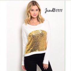 Gold Sequin top White and Gold sequin top. Perfect for the holiday season! 100% polyester material. Please do not purchase this listing. Comment below and I will make you a listing  Boutique Tops