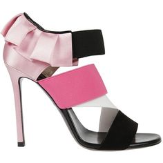 Ruffled Blockcolour Sandals from Emilio Pucci: Fuchsia Ruffled Blockcolour Sandals with open toe, strappy design, branded insole and high stiletto heel. Strappy Shoes, Stiletto Shoes, Suede Sandals, Shoes Sandals, Open Toe Shoes, Open Toe Sandals, Funky Shoes, Cute Shoes, Monk Strap Shoes