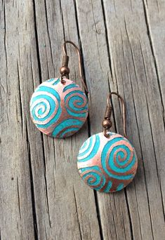 Blue Wave Etched Patina Copper Earrings